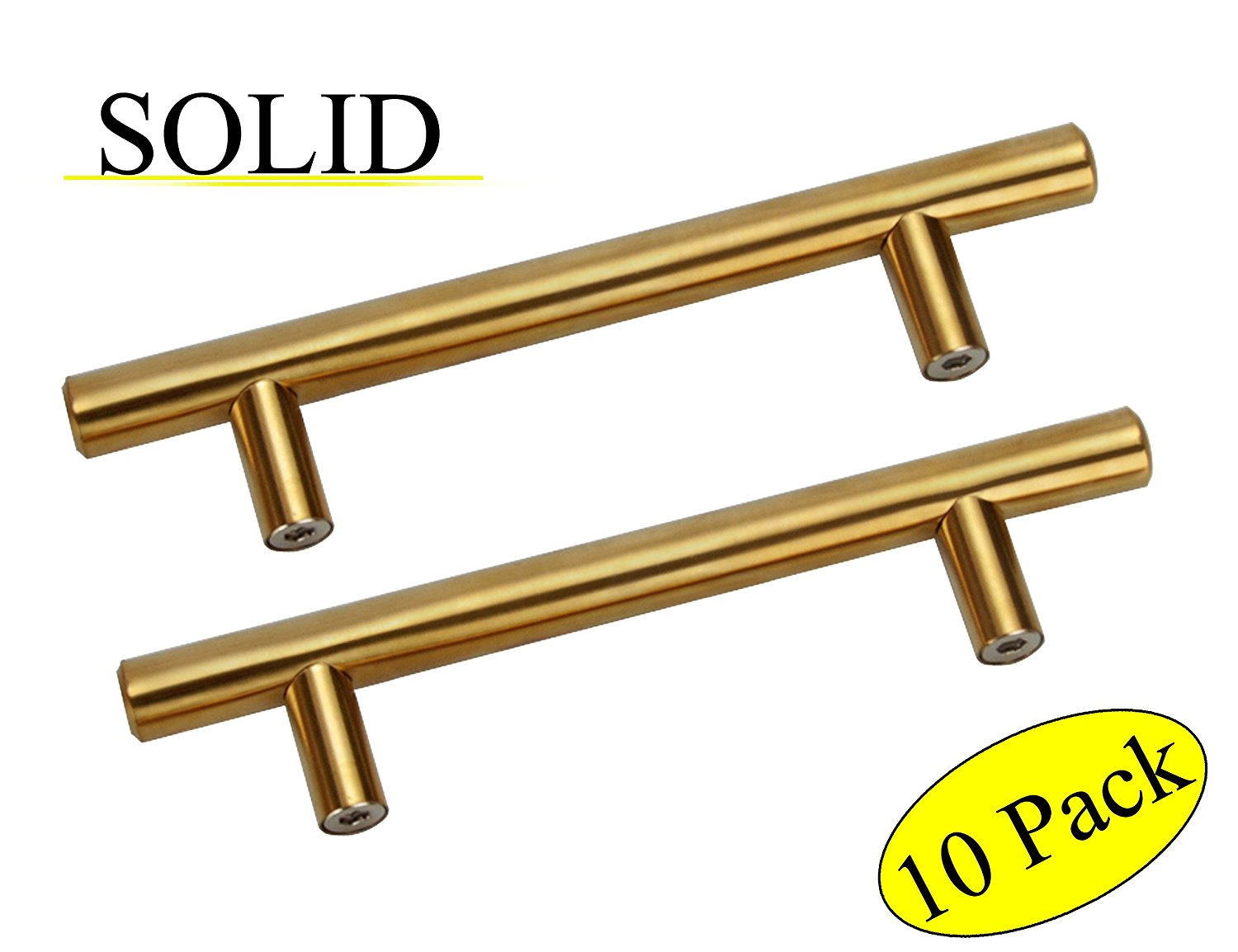 Gold SOLID Stainless Steel Cabinet Pulls with Hole Distance 3IN(76mm),Overall Length 5IN(127mm) bar handles for Furniture Drawer,Wardrobe Kitchen Cupboard Door Handle,10PCS,SOLID-CL-149GD76