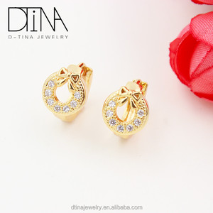 Korean Fashion Jewelry Cute Flower Earrings CZ Bridal Wedding Earrings