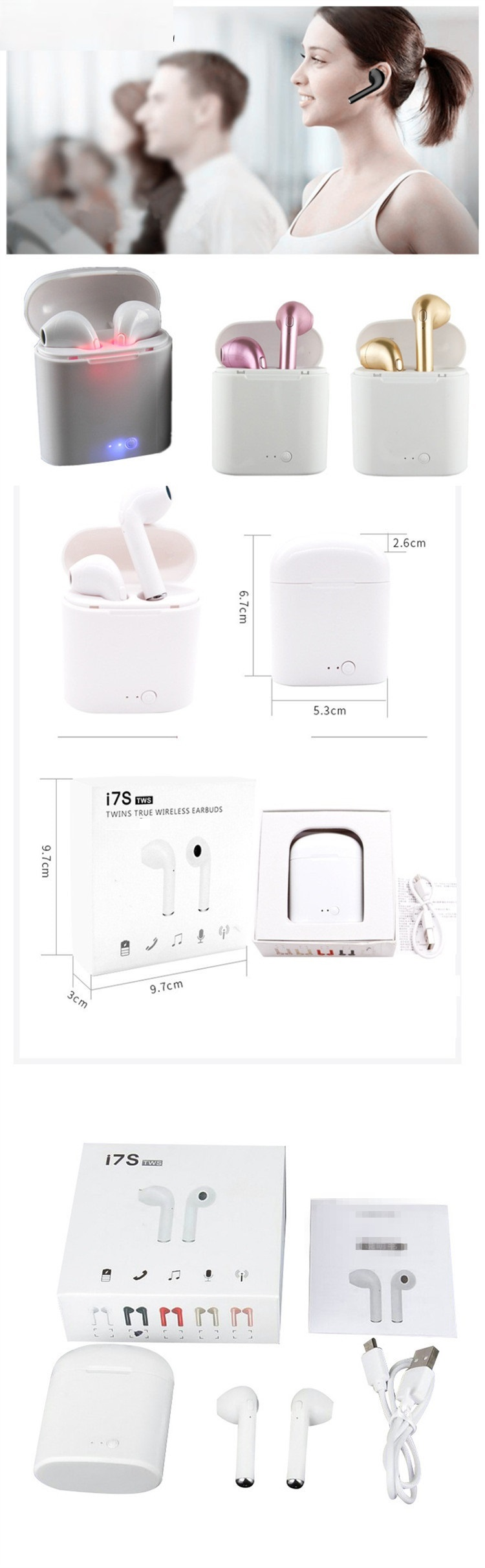 portable Wireless Earphone with Charger box for phone 8 and android i7s tws in-ear earbuds headset