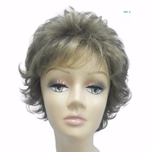 Short Curly 9 inch Chocolate Blonde Top Beauty Fashion Superior quality middle-aged lady wig Full Wig