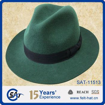 4126122d33f6ea green 100% wool felt wide brim fedora hat