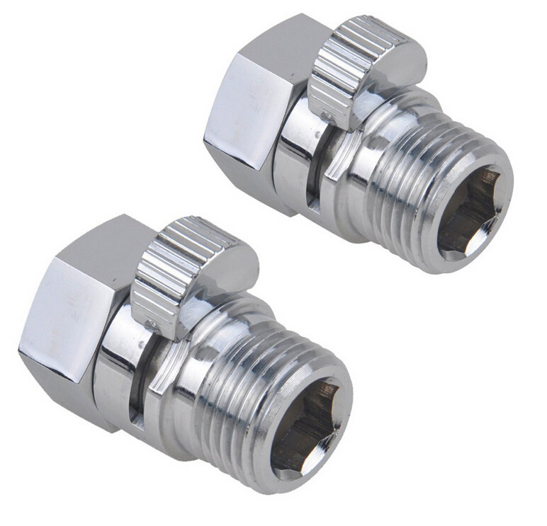 Brass Chrome Shut-Off control Valve for Shower Bidet Sprayer, Control Valve t adapter with Short Switch
