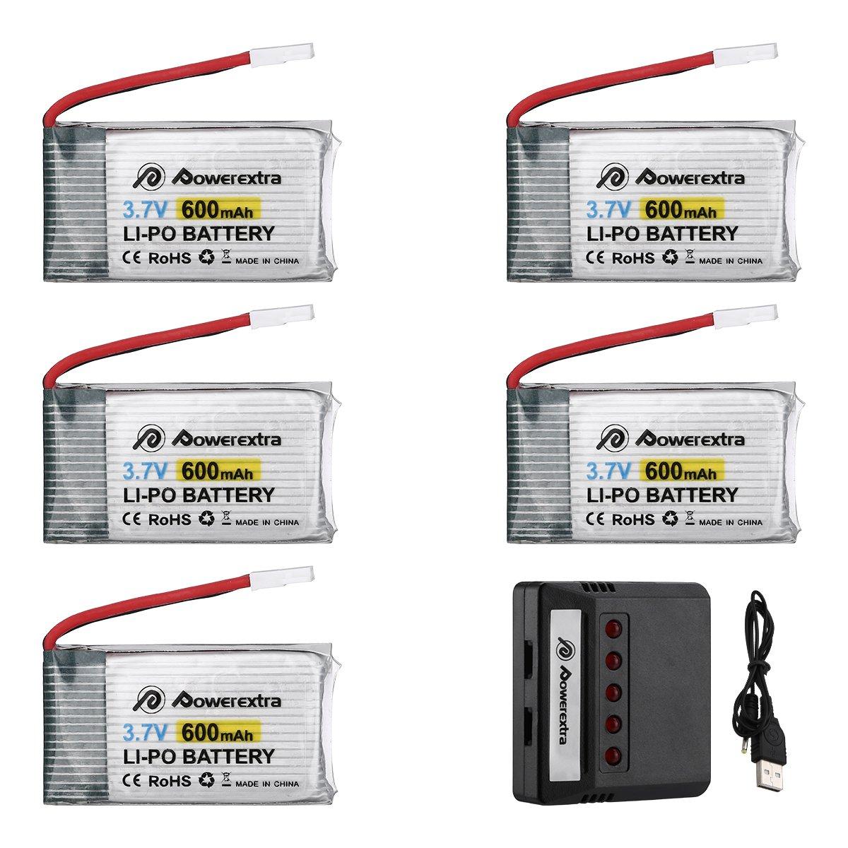 Powerextra 5Pcs 3.7V 600mAh LiPO Battery & X5 Battery Charger Compatible with Syma X5 X5C X5SW X5SC-1 CX-3W CX-31 M68 M68R UDI U45 Beginners X708W Wi-Fi FPV Training RC Quadcopter