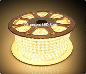 CBConcept® 90FT Warm White 120 Volt High Output LED SMD5050 Flexible Flat LED Strip Rope Light - [Christmas Lighting, Indoor / Outdoor rope lighting, Ceiling Light, kitchen Lighting] [Dimmable] [Ready to use] [7/16 Inch Width X 5/16 Inch Thickness]