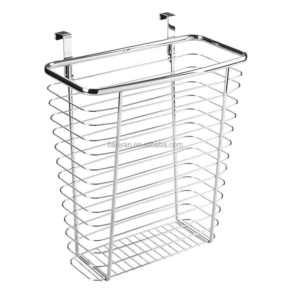Over The Kitchen Metal Hanging Baskets Cabinet Door Basket Holder ...