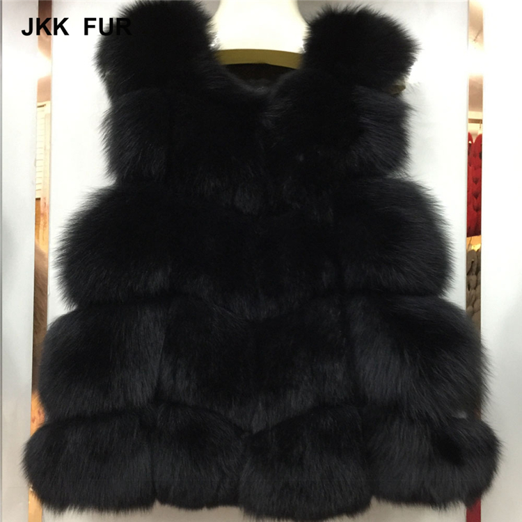 JKK FUR 2018 Women's Real Fox Fur Vest Autumn Winter Fashion Gilet Lady Casual Waistcoat New Arrival S7163