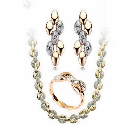 4e80508d8a62 Venta al por mayor traje de conjunto de joyas de oro y plata boda juego de