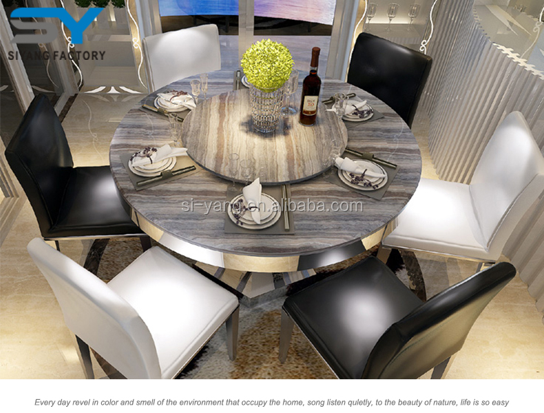 Malaysia Dining Table Set Luxurious Marble Tops Mdf Made In China CT030