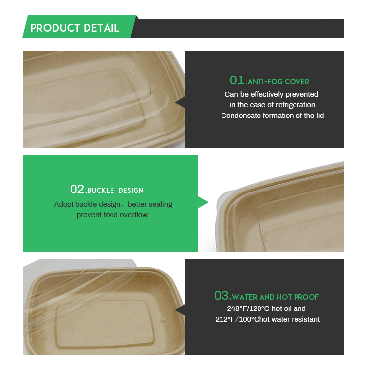 Food packaging pulp compostable disposable box with clear lid