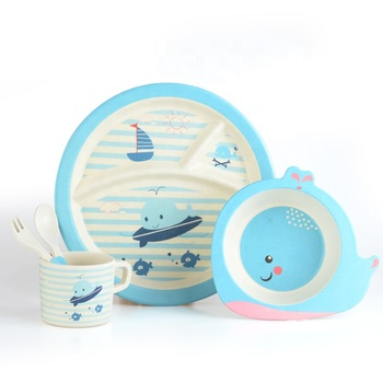 Bamboo Fiber Kids Dinner Set Biodegradable Children Tableware