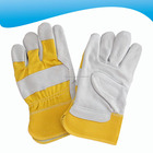 wholesale yellow cow split leather working gloves with safety cuff