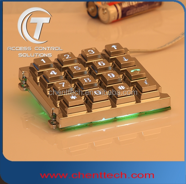 manufacture 4x4 waterproof outdoor backlit keypad