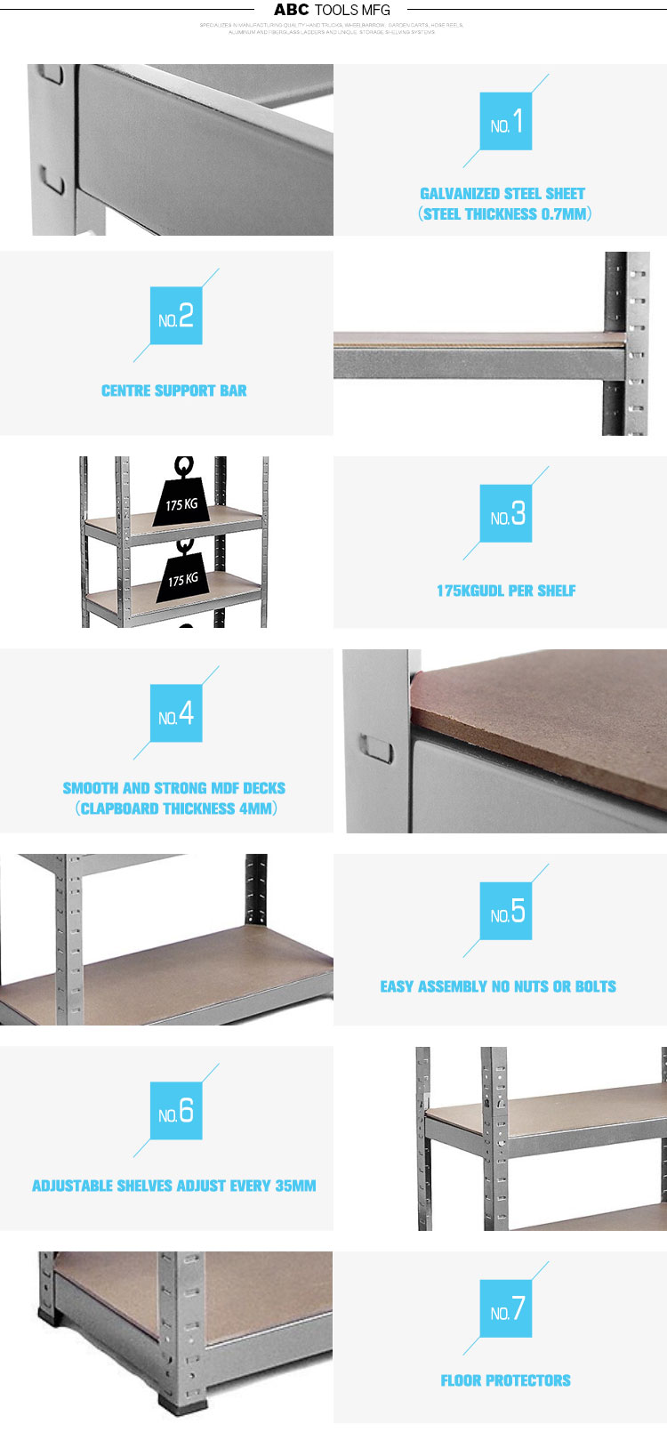 Heavy duty storage steel shelf shelving storage system