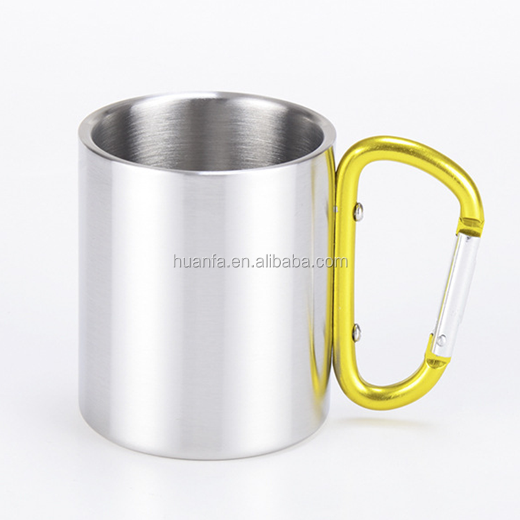 Accept OEM best seller 250ml insulated portable stainless steel double layer camping mug carabiner hook handle coffee cup