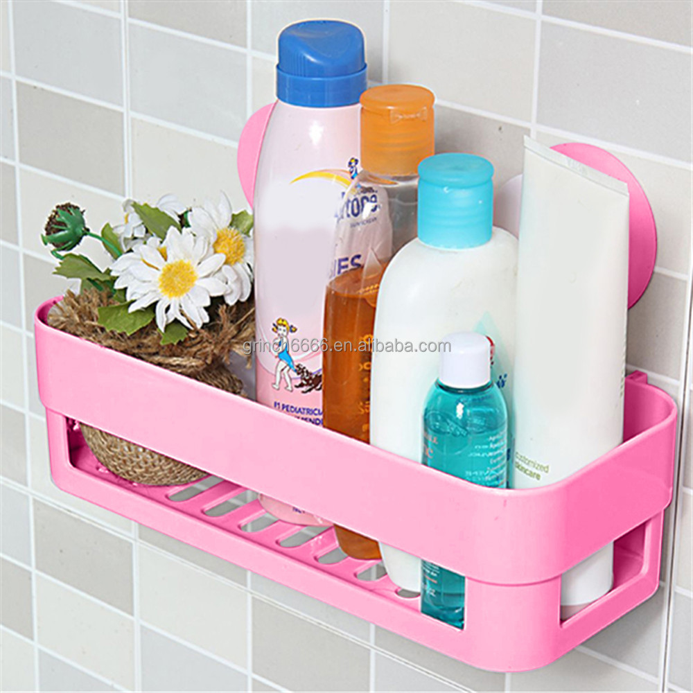 Kitchen and bathroom double suction cups leachating sundry storage rack