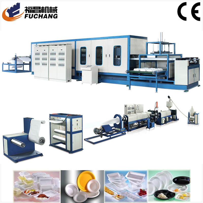 China PS fast food container and tray foam disposable tableware machine production line