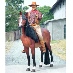 Outdoor Garden Decoration Fiberglass Animal Resin Cowboy Statue for sale
