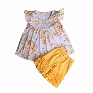 Hot sale wholesale boutique outfits children summer clothing european set ruffles outfits kids clothes