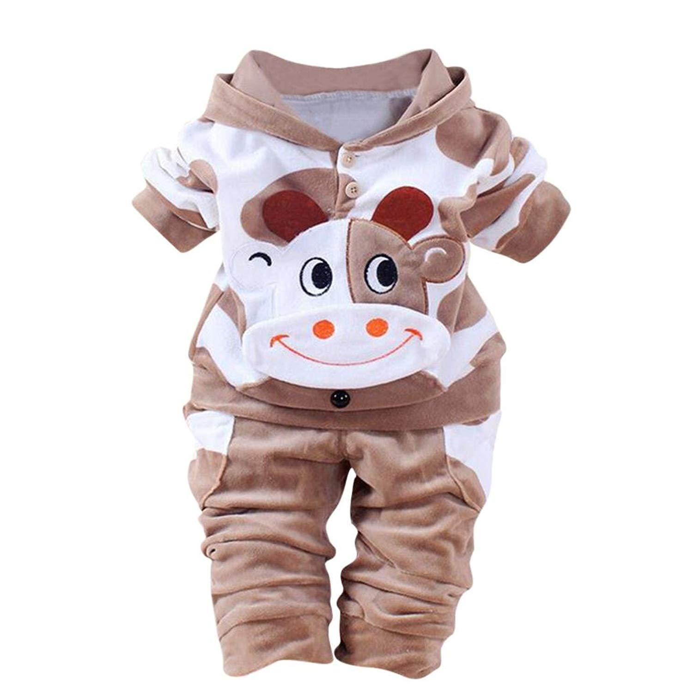 63fbad1ffe399 Fineser TM Toddler Baby Girls Boys Cute Cartoon Cow Velvet Warm Hooded Tops+Pants  Suits Clothing Set