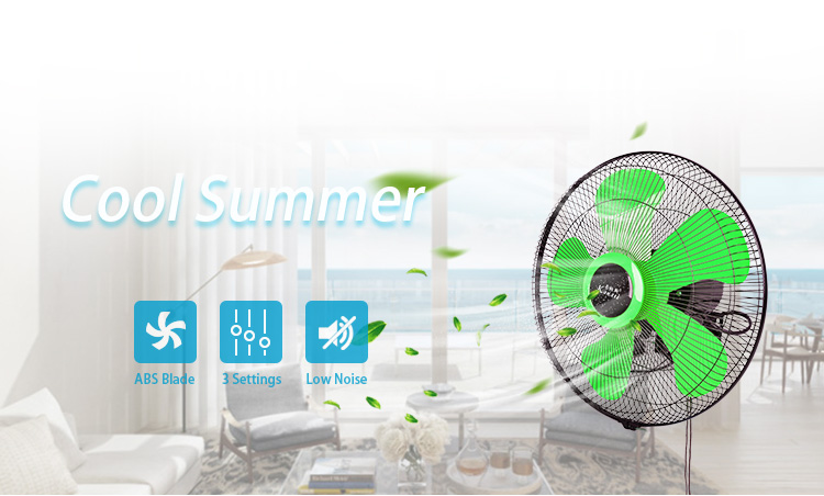 "16 18 20 "" Inch  Electric Oscillating commercial Wall Mount Hanging Stylish Air Cooling Fan with 3  Plastic Blade"