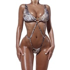 Sexy Tie Side String Snake Print Thong Micro Tanga Monokini Women Bathing Suits Bikini One Pieces Swimsuits Swimwear With Ring