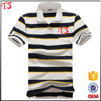 Guangzhou clothing manufacturer OEM 20 colors short sleeves striped polo t shirt design