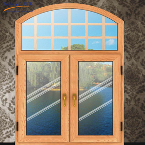 aluminium alloy hollow arch glass window casement window with oak color
