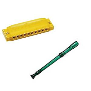 My First Recorder / Harmonica Pack -BPA FREE Green Translucent Recorder w/Yellow Hohner Harmonica