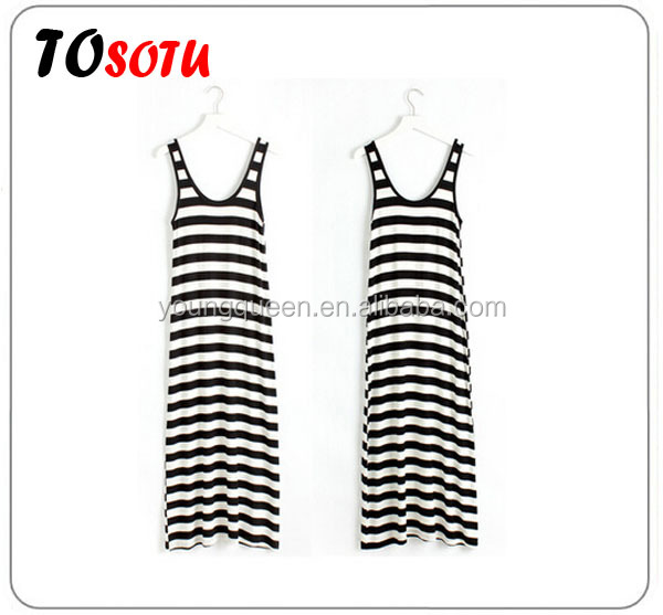 WA90 2016 summer milk silk long skirt foreign trade striped skirt vest dresses women dresses fashion dress