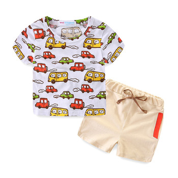 Mudkingdom 0-5 years old boy new summer cotton cloth short sleeve printed car t shirt rope pants with pockets two piece sets