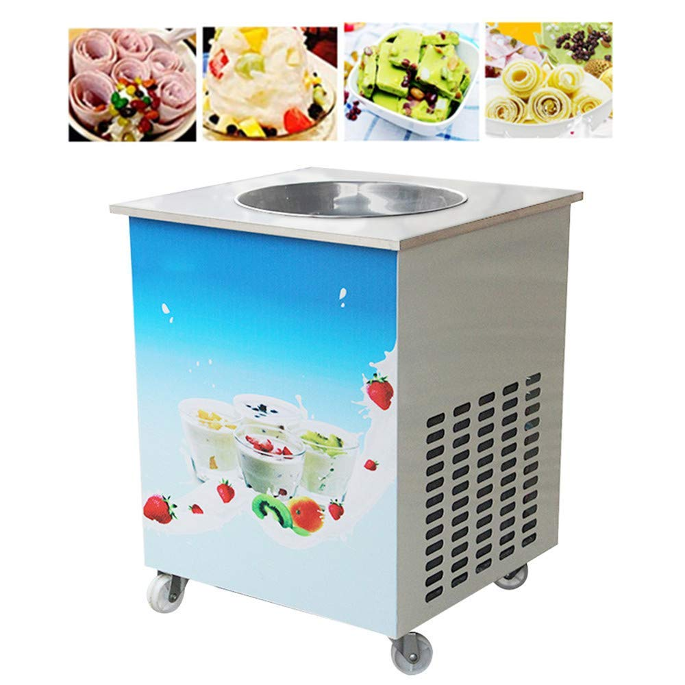 Single Round Pan Fried Ice Cream Roll Machine, Commercial Fried Milk Yogurt Machine, Ice Cream Maker 110V,3-7 Days Delivery