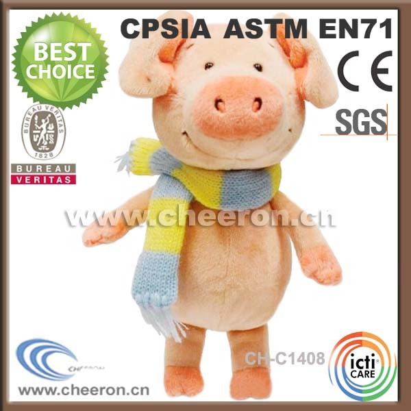 Leading custom minion stuffed pig wearing knitted scarf