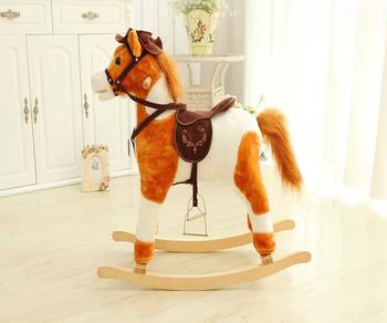 Cavallo A Dondolo In Peluche.Di Alta Qualita In Bianco E Nero Peluche Cavallo A Dondolo Cavalli A