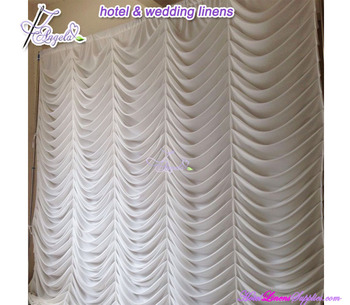 300*300cm white factory direct sale European Style wedding backdrops curtains with water wave pleats