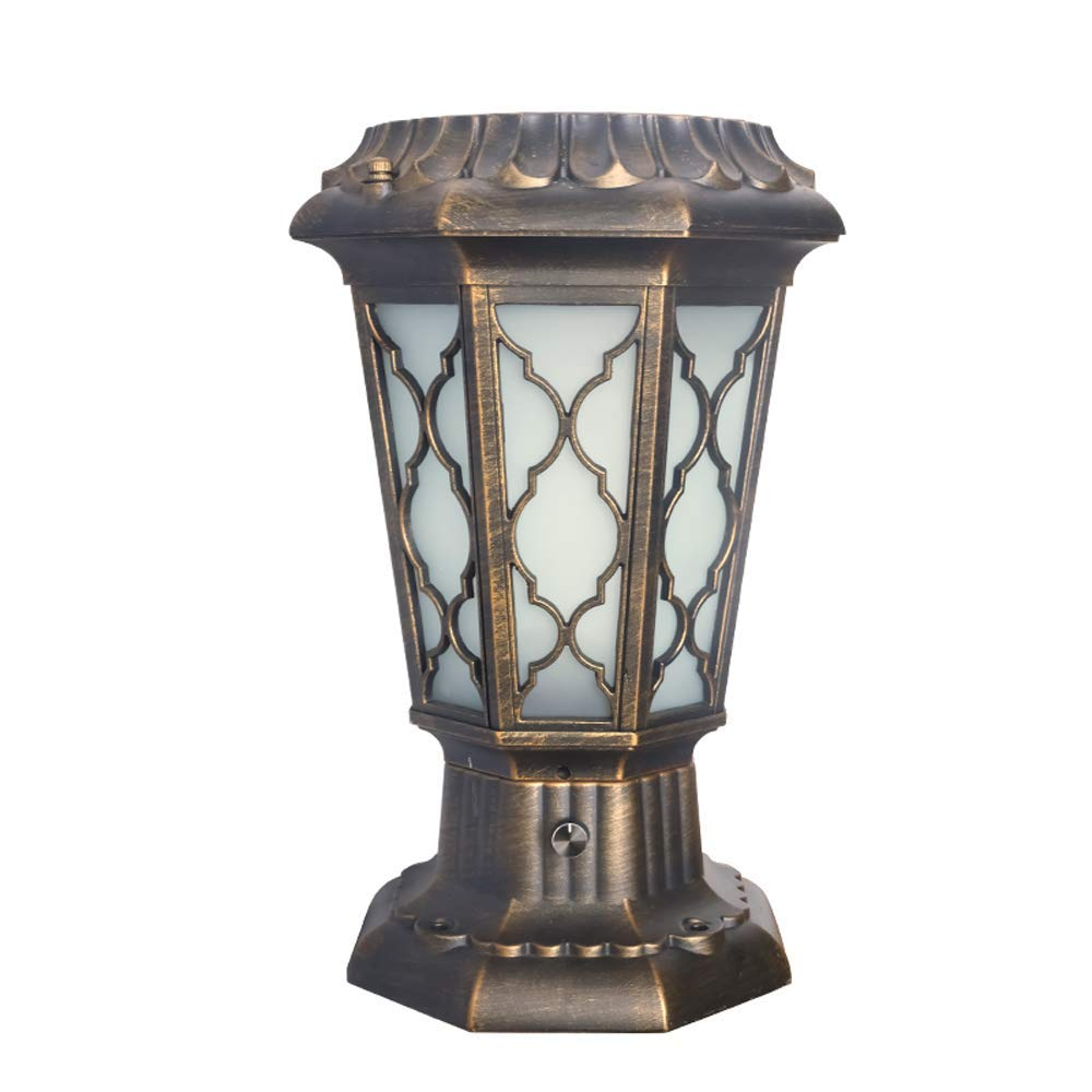 Hines European Energy Saving LED Solar Column Light Decoration Traditional Victoria Outdoor Glass Table Lamp Villa Door Post Lamp Waterproof Wall Pillar Table Lamp