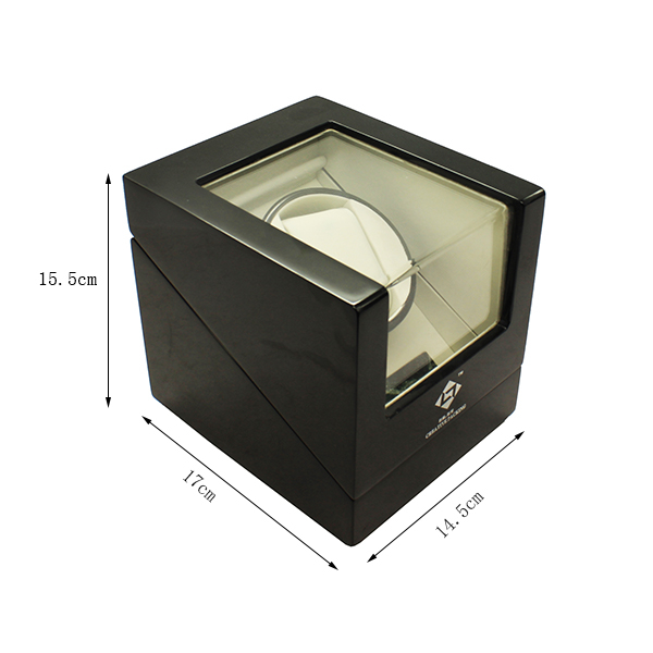 High Gloss Black Wooden Finish Winding Watch Box