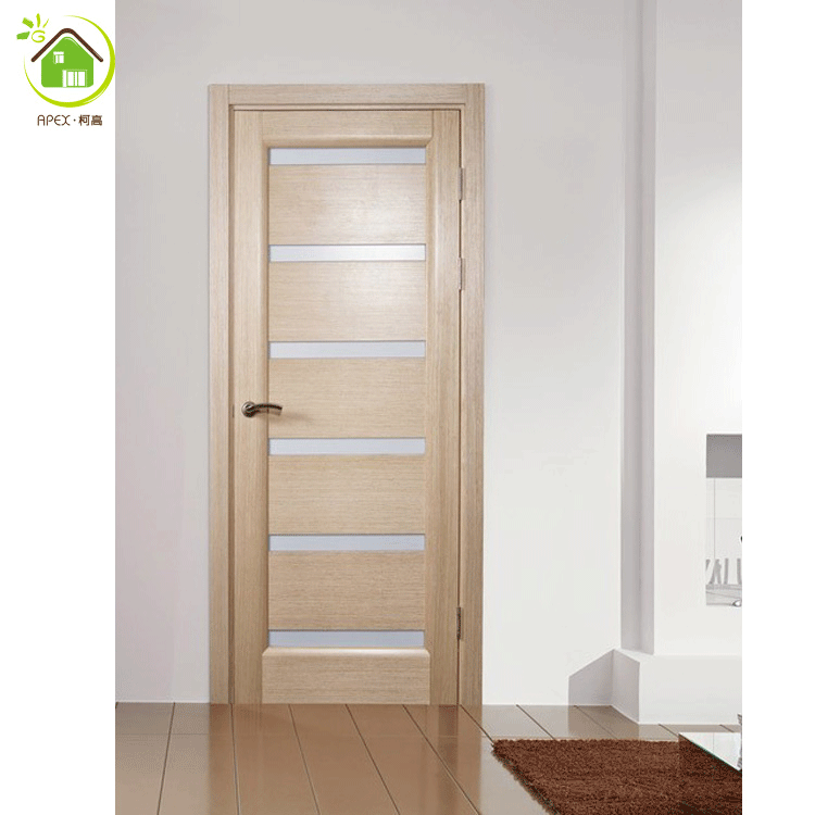 Interior Frosted Glass Modern Wooden Bathroom Doors For