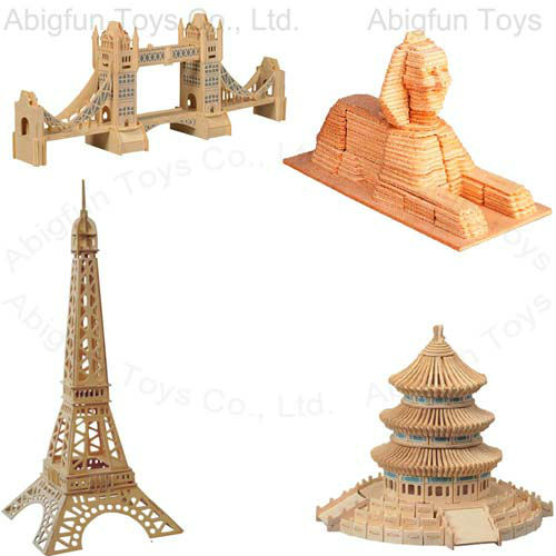 buildings wooden construction kits, wooden diy bridge & tower toy