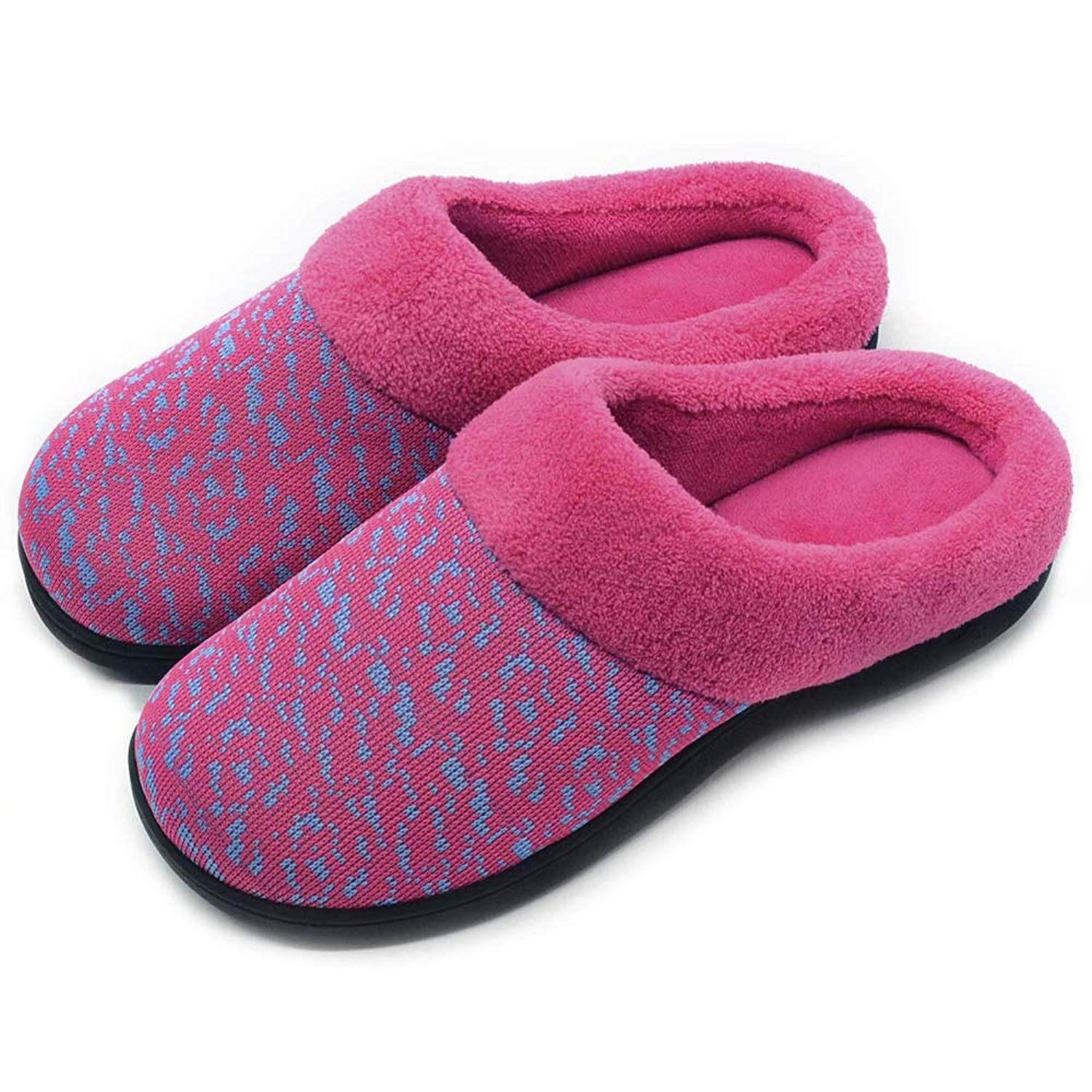 5b4fff7139c2 Get Quotations · Wishcotton Women s Slip On Knit Memory Foam Slippers  French Terry Lining Indoor Outdoor House Shoes