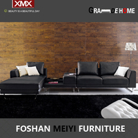 latest living room modern leather/fabric corner sofa 2917A+E+G