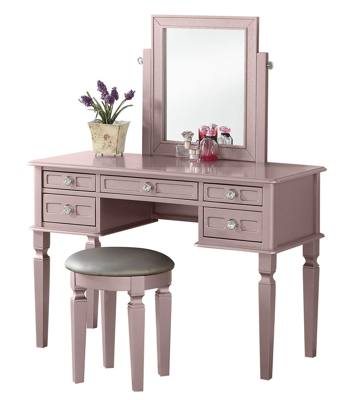 Bobkona F4186 Vanity Table with Stool Set, Rose Gold