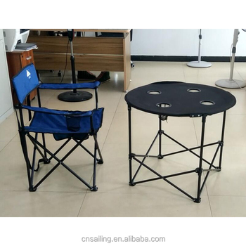 New Design Aluminium Folding Round Camping Table With Slatted Top