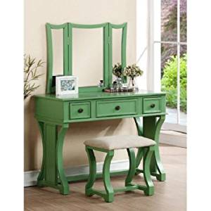 PNX Bobkona Edna Vanity Set, Apple Green, Tri-fold mirror vanity table with stool set, Two small drawer and one large center drawer, Antique brass-look drawer handle.