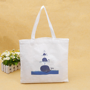 Blue whale recycle grocery canvas tote wholesale shopping bag