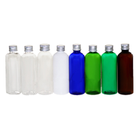 100m 200ml 300ml Pet plastic round shape bottle with aluminum screw caps / Empty cosmetic lotion bottles with lid for travel
