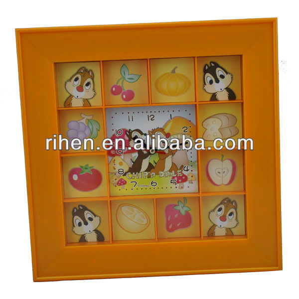 new design plastic square wall clock with small photo frame