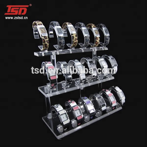 factory hot sale 3 tier clear acrylic  c ring wrist watch display holder