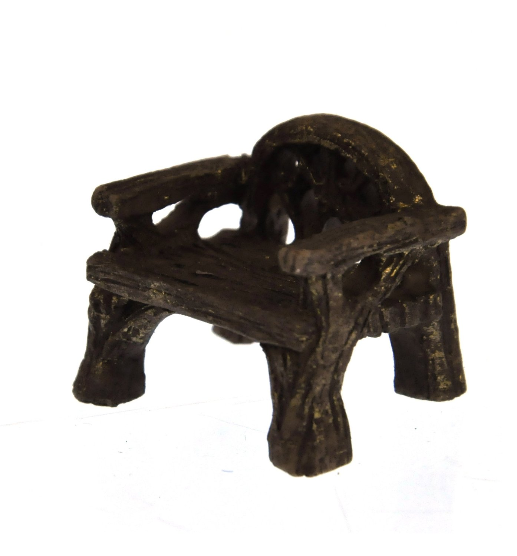 Fiddlehead Fairy Village Miniature Rustic Woodland Chair with Bonus Fairy Decal