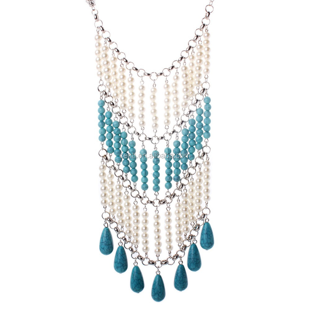 Euro Fashion Collar Boho Chic Turquoise Tassel Pearl Necklace Exaggerated Statement Jewellery