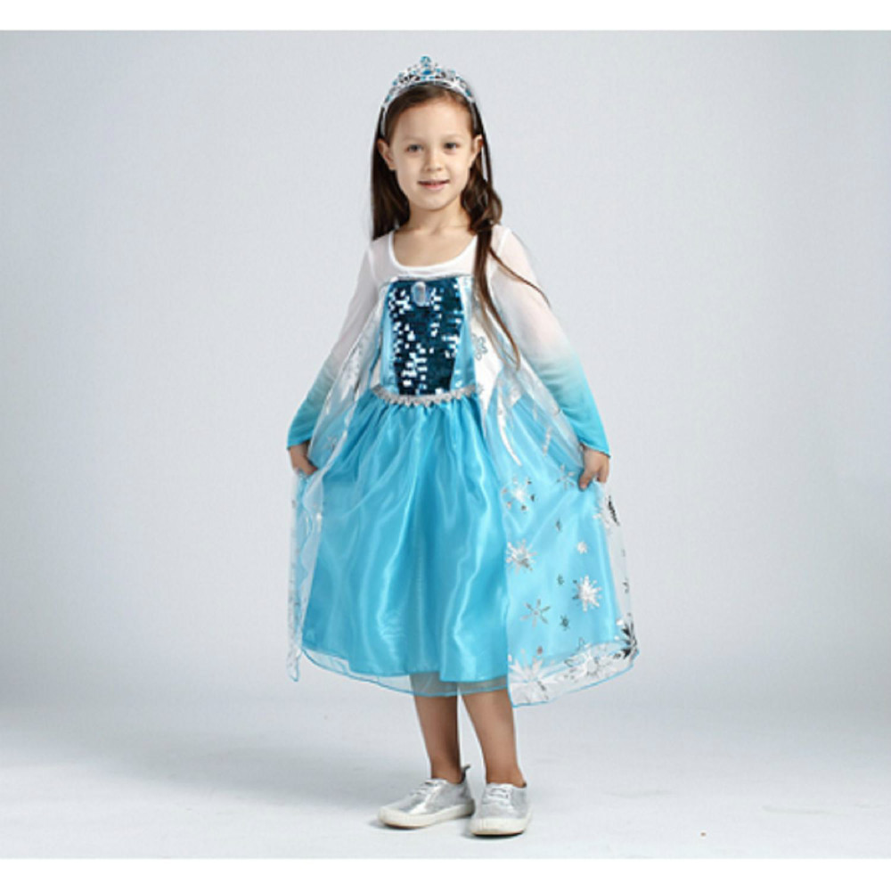 Girls Party Dresses Blue Polyester Frozen Elsa Dress Snow Beach Elsa Costume Kid Clothes Lowest